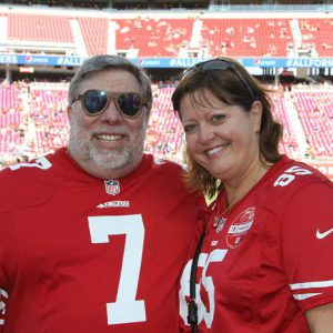 Woz and wife Janet. Woz is sporting some Cardinal sunglasses made of wood he received as a gift in Querétaro, México.