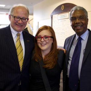 Left to Right: FIU President Mark Rosenberg, SJMC Student Natalie Merola, and FIU Board of Trustees Member C. Delano Gray.